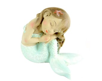 "Resting on Knee Mermaid, 2"" x 2"" - Resin - Miniature Dollhouse Fairy Garden"