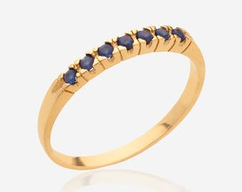 Sapphire Ring Gemstone Ring Gold Ring Promise Ring Dainty Slim thin Ring women gold jewelry 7 seven stone ring