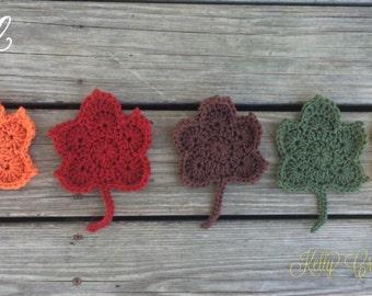 Crochet Fall Leaf Coasters 5 in a set