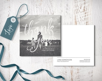 Thank You Photography Card, Thank You Card Template, Calligraphy Thank You Card, Photoshop Template, TY102