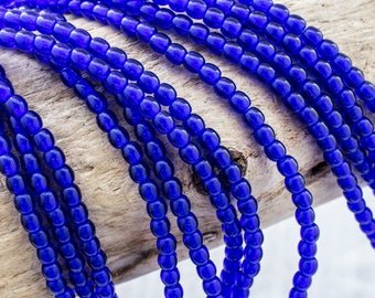 3mm Druk Round Cobalt Beads, 2996, 3mm Cobalt Smooth Round Beads, 100 Beads
