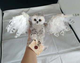 EXAMPLE LISTING~ Poseable snowy owl art doll