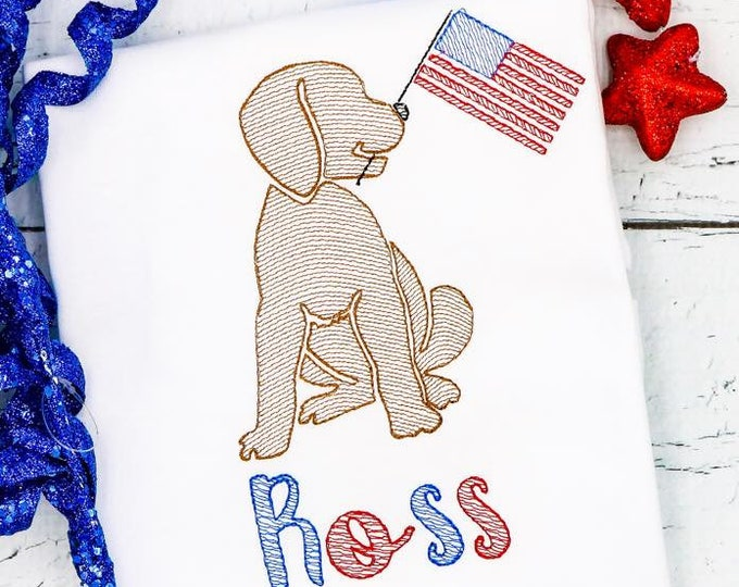 Featured listing image: Patriotic Dog with Flag Sketch Embroidery, Lab with American Flag