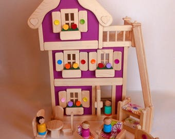 "Wooden Peg Doll House, Wood Toy Dollhouse Furniture, Handmade Waldorf Kids Birthday gift, Jacobs Wooden Toys ""MAGENTA BLOSSOM"""