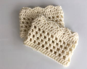 Handmade crocheted boot cuffs - Ivory