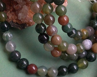 10 round beads 6 MM Indian agate gemstone