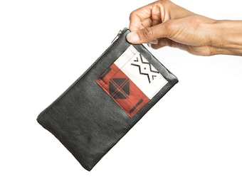 Leather zipper pouch, African zipper pouch, Leather bag, Black zipper pouch, African pouch, Leather purse, Leather clutch, African clutch