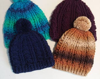 Crochet Cable Stitch Beanies with Pom Pom