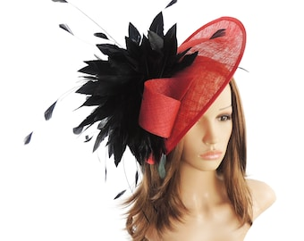 Adonis Red and Black Fascinator Hat for Weddings, Races, and Special Events With Headband