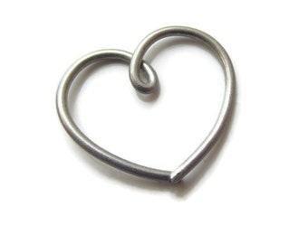 Clearance Sale Titanium Daith Heart Earring 18Gauge, Single ( 1 ) One