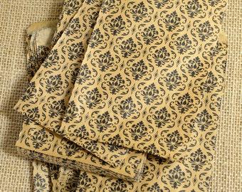 Damask Print Brown Kraft Bags - 4 x 6 - Favor, Gift or Merchandise Bags - Set of 100