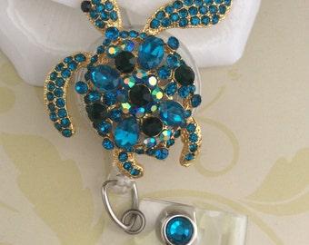 Rhinestone Blue Turtle Retractable ID Badge Reel, Nurse Badge Reel