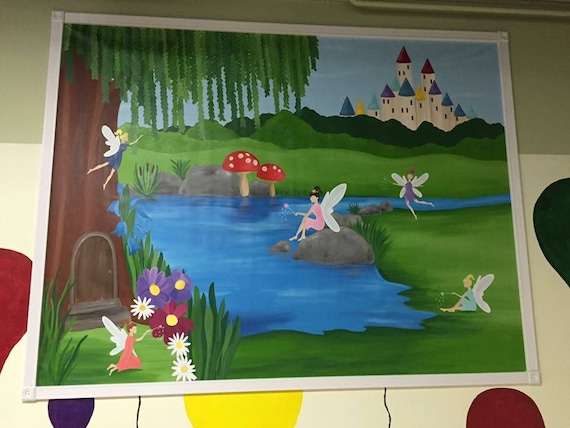 Princess mural canvas mural princess painting fairy for Fairy princess mural