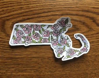 Massachusetts Vinyl Sticker: 3 Patterns Available, Massachusetts Laptop Sticker, MA sticker