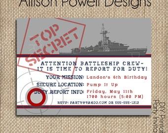 BattleShip, Military, Navy, Army Birthday Party - Custom Birthday Party Invitation
