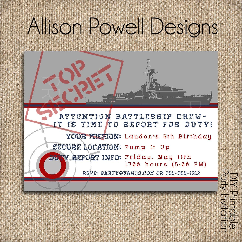BattleShip Military Navy Army Birthday Party Custom