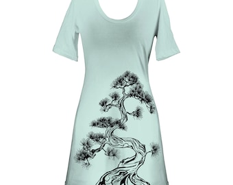 Ash Grey Seafoam Japanese Pine Tree, Screen Printed Crewneck T-Shirt Dress, Bonsai, Sumi-e, Botanical, Last One, Made in USA - Size S