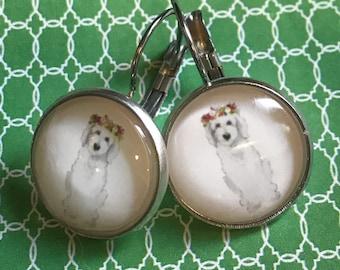 Dog glass cabochon earrings - 16mm