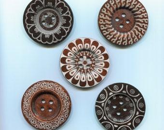 large button 6cm * pattern * wood