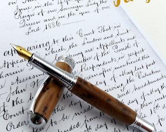 Wood Fountain Pen in Thuya Burr - Wood Pen - Fountain Pen - Hand Made - Chrome - Wooden pen - 656
