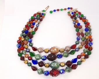 Colorful Jewel Tone 4 Strand West Germany Beaded Necklace – Beaded Necklace – 1950s Necklace – Vintage Jewelry