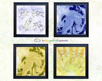 """Hokusai Egrets & Cranes - 12"""" x 12"""" HD Digital Prints"""