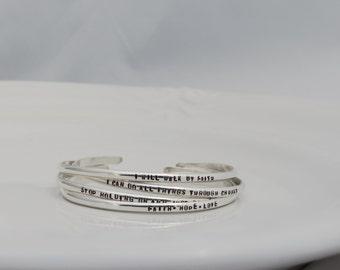 Custom Engraved Sterling Silver Cuff Bracelet - Personalized Cuff Bracelet -  Hand Stamped - Hammered Bracelet