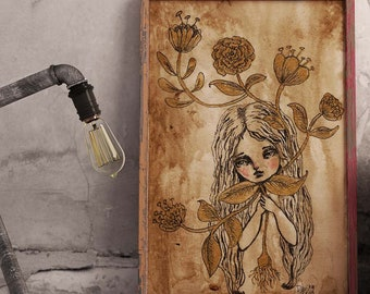 FLOWERING - Danita's ink and watercolor surreal drawing of a girl in bloom, inspired by the medieval drawings of magical mandrake plants