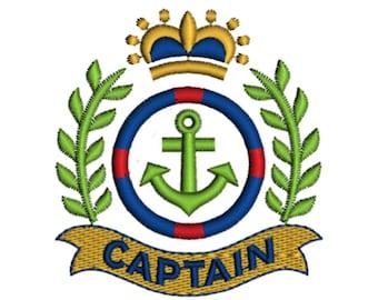 Nautical Captain Anchor Crest Crown Laurel Marine Summer Holiday Seaside Machine Embroidery Design Digital Instant Download