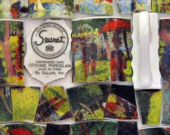 Mosaic Tiles Impressionist Seurat Artist Hand Cut Tiles Handle Backstamp People Park Trees Red Green Tessarae
