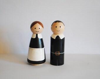 Pilgrim Peg Dolls Thanksgiving Set