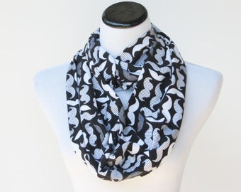 Black gray white mustache infinity scarf - circle scarf soft funny loop scarf  gift idea for her - gift for mom gift for girl