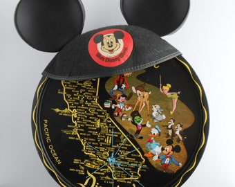 Disneyland Vintage Souvenir Metal Serving Tray - with State of California and Disney Characters