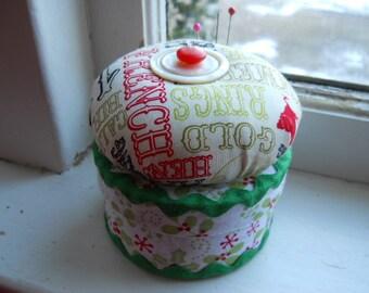 Pincushion - Christmas Whimsical Pincushion on a Round Box