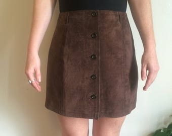 Brown suede 90s button up skirt