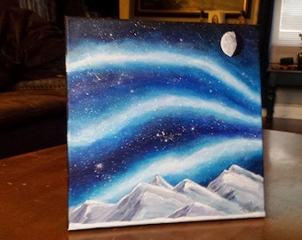 Northern Lights Painting Aurora Painting Galaxy Painting Galaxy Art Milky Way Painting Night Sky Painting Celestial Painting 12x12