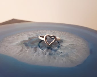 Vintage Heart Toe Ring Midi Ring Sterling Silver 925 Size 2 Adjustable TR2l