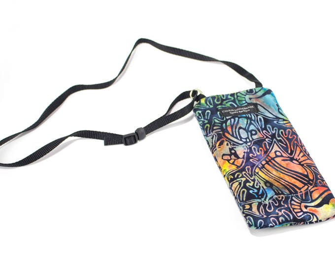 Eyeglass case for readers - Batik Tropical fish fabric Eyeglass Reader Case -with adjustable neck strap lanyard