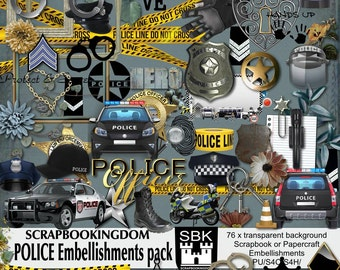 POLICE embellishment pack for scrapbook kit. 76 Digital scrapbook embellishments law enforcement  Matching paper pack is available in store