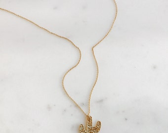 Saguaro Cactus Charm Necklace 18K Gold Plated On 14K Gold Fill Chain
