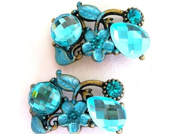2 teal aqua floral 2 hole slider beads, buttons, spacers - limited edition