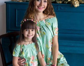 Soft Mint Baby Mommy Matching Pjs, Mom and Me Pajamas, Floral pattern, Twinning, Mommy baby matching, Mini me