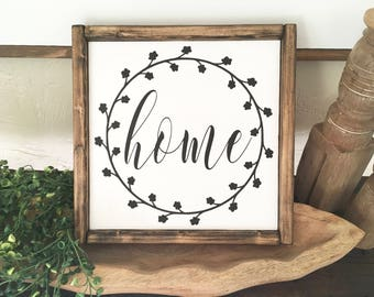 Home with Wreath Wood Sign