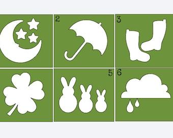 Variety Stencils #2 - Onesie Painting - Onesie Decorating Station - Create Your Own Onesie - Onesie Painting Kit - Holiday Stencil