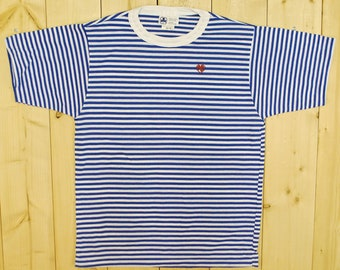 Vintage 1980's GIRL GUIDES  BROWNIES Striped T-Shirt / Alfred Sung / Retro Collectable Rare