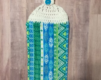 Crocheted Top Dish Towel - Aztec Design