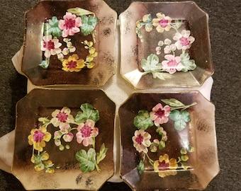 Antique B & Cie Depose Creil Et Montereau French Porcelain Plates Octagonal  Brown with Yellow Flowers - Set of Four