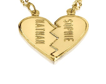 Split heart necklace etsy personalized gold broken heart necklace couples 18k gold plated engraved necklace split heart charm pendant necklace 2 names necklace aloadofball Gallery