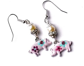 Pink Pig Dangle Earrings Hand Painted Flowers Cute Whimsical Jewelry FREE SHIPPING