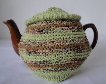 lime sparkly teacosy, green/brown tea cosy, gift for tea lovers, modern teapot cover, stylish homeware, housewarming gift, striped tea cosie